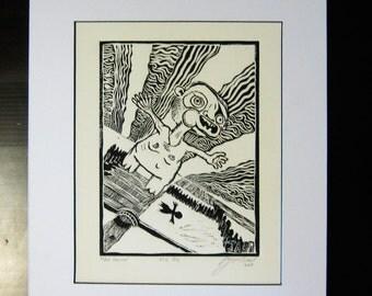 Free Fall Linocut Print