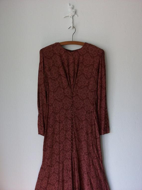 RESERVED Vintage Burgundy Dress ... 1980's does 1930's Mermaid Maxi ... Medium / Large