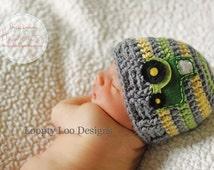 Newborn Photo Prop, Crochet Tractor Hat, Crochet Hat, Baby Boy, Handmade, green tractor - Sizes NEWBORN TO 12 MONTHS - more color options.