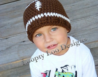 Crochet Hat, Football Hat, Baby Boy, Photo Prop, Football Beanie, Handmade - Sizes 12 MONTHS AND UP