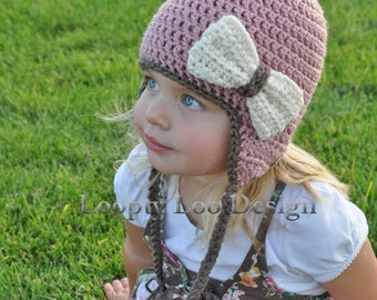 Crochet Hat with Earflaps and Bow, Baby Girl, Photo Prop, Earflap Hat, Handmade - Sizes 12 MONTHS AND UP - more color options
