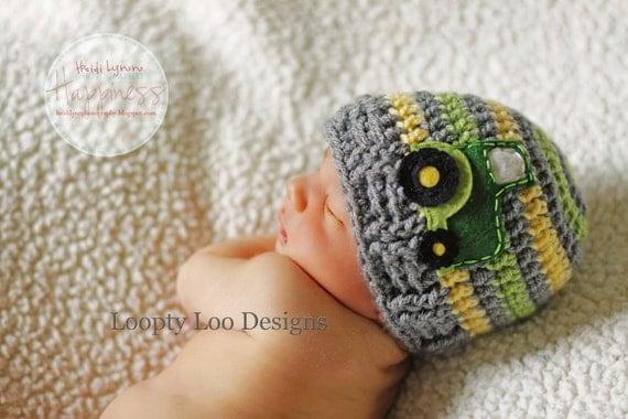 Deere Infant Hat Crochet Pattern : Crochet Tractor Hat Newborn Photo Prop Crochet Hat Baby