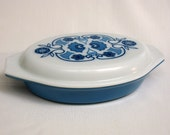 Horizon Blue Pyrex  One and a Half Quart Divided Vegetable Dish with Cover