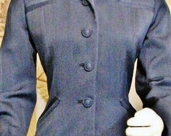 Jacket - 1940's Wasp Waist Navy Blue - Gaynes