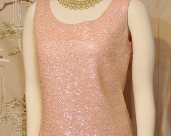 """Sweater - """"Shell"""" Style - SEQUINED - Gimbel's - Made in Hong Kong - S/M"""