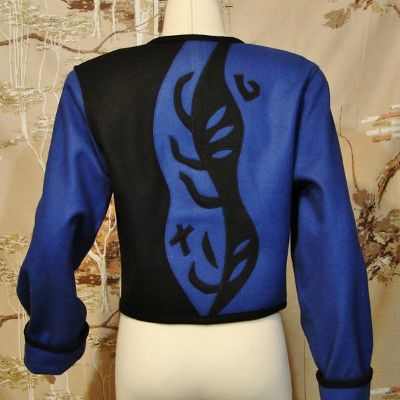 Jacket Blue And Black Wool Wearable Art Beppa Brand