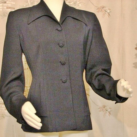 JACKET - Nipped Waist Navy Circa 1940's