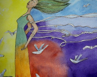 wind in white ribbons original watercolor painting