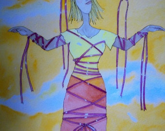 No wind for my ribbons original watercolor