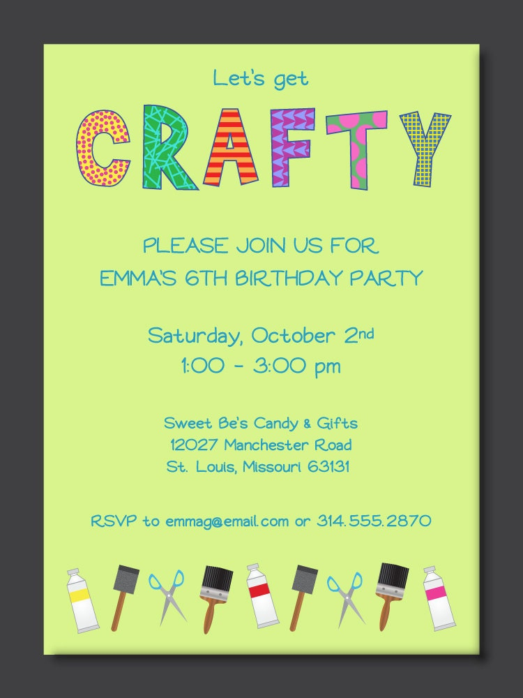Crafty Kids Birthday Party Invitation by PaperPerfectionist