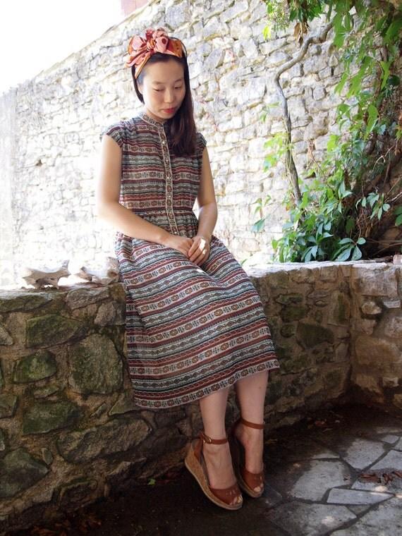Light Indian pattern vintage dress, xs - small, Japan