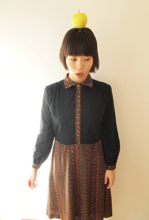 Warm black Japanese vintage dress with flower print, S - M