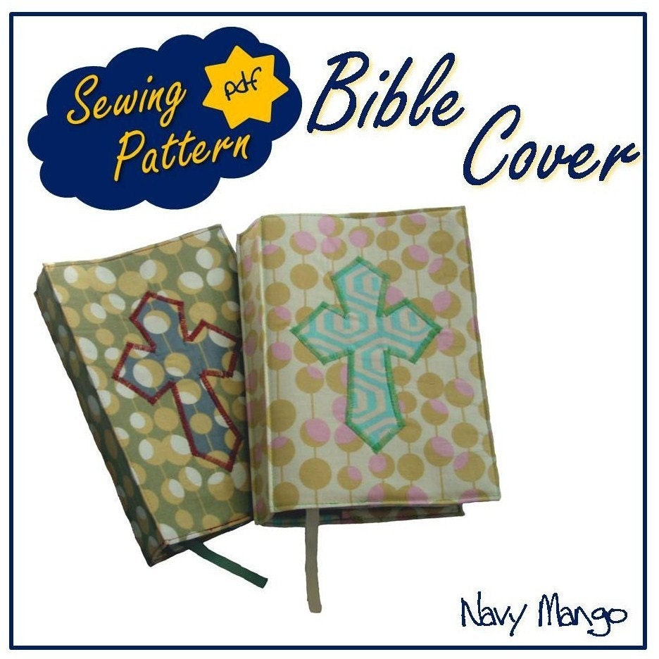 Sewing A Book Cover Pattern ~ Bible or book cover pdf sewing pattern tutorial by navymango