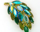 Vintage Juliana Style Leaf or Feather Brooch High Dome Aurora Borealis and Green Wide Navettes