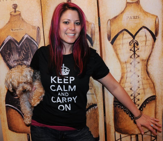 SALE!!  Keep Calm and Carry On.  American Apparel fitted tshirt in small or extra large.
