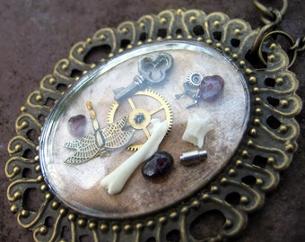 Mouse Bone Assemblage Necklace in Brass - Steampunk Dollhouse Chic