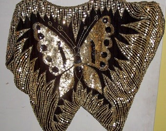 Vintage Butterfly Blouse Sequins on Silk Butterfly Tops
