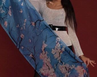 Blue spring silk scarf: Blossoming Apple Trees, hand painted. Scuba blue, white, pale pink, black original art scarf. Oriental sakura motifs