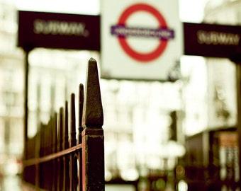 London Photography, Black, White, Red, Underground, Travel Photography, Office Decor, London Print, London Underground