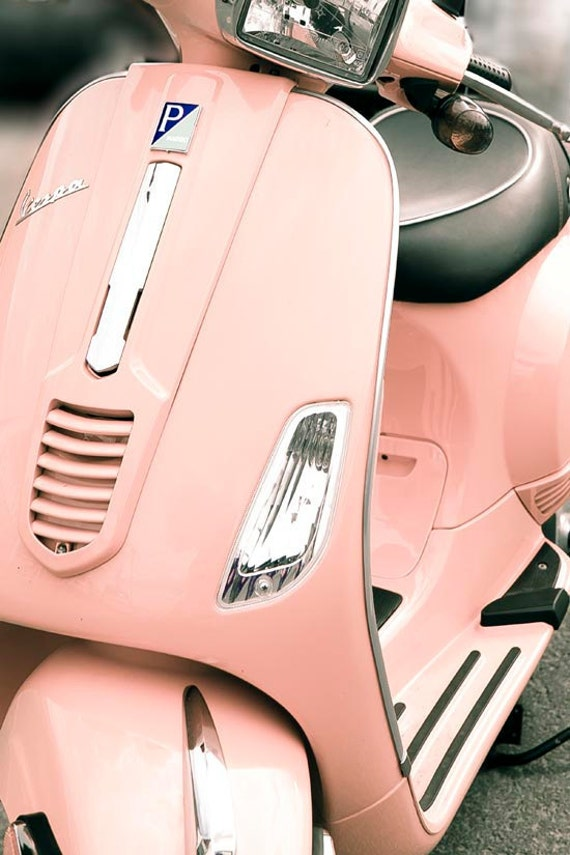 pastel decor pink vespa paris print black pink retro. Black Bedroom Furniture Sets. Home Design Ideas