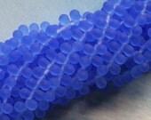 4x6mm Teardrop Beads Matte- Frosted Glass Beads - Matte Tear Drop Bead - Sapphire Blue (100 pieces)