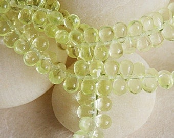 100 - 4x6mm Teardrop Beads - Jewelry Making Supplies - Jonquil  Light Yellow Tear Drop Beads