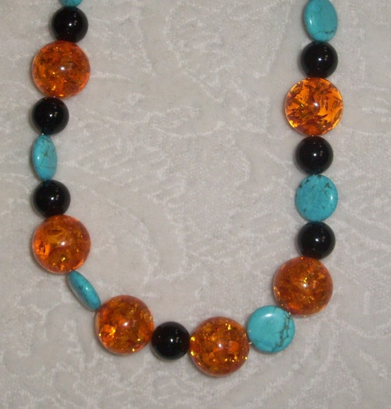 SALE Turquoise Amber natural stone handmade necklace Big Bold chunky