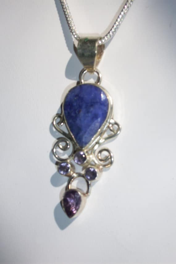 Sapphire and Amethyst natural stone Sterling Silver Necklace