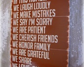 In This Home---House Rules---Antiqued Plank Typography Sign-Barn Red
