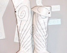 Vintage OTK Boots White Studded Leather Over Knee Boots sz 9.5