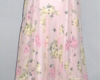 HOLLY HARP Vintage Femanine Floral Flutter Sleeve Pink Dress - AUTHENTIC -