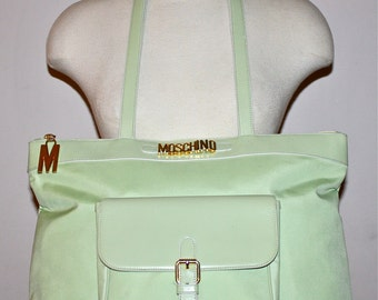 VINTAGE MOSCHINO REDWALL Tote Green Leather Nylon Large Shopper -Authentic -