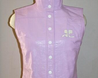 Vintage COURREGES Vest Lavender Vinyl Patent Logo Waistcoat -AUTHENTIC-