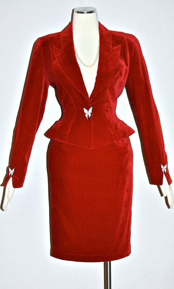 Vintage THIERRY MUGLER Suit Red Velvet Jeweled Butterfly Skirt Blazer Outfit
