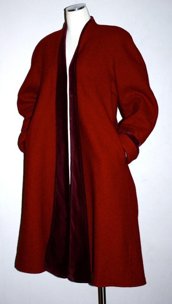 Vintage KENZO PARIS Coat Deep Red Wool Velvet Clutch Swing Jacket