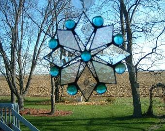 Small Aqua Iridescent Bevel Snowflake Suncatcher