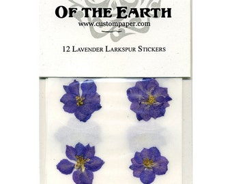 """Purple Larkspur 1.5"""" Real Pressed Flower Decorating Stickers - pack of 12 - Not Dyed"""