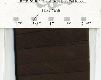 "Hand Dyed Silk Ribbon 15mm 5/8"" Brown Blend 021 - 3 yards Bias Cut"