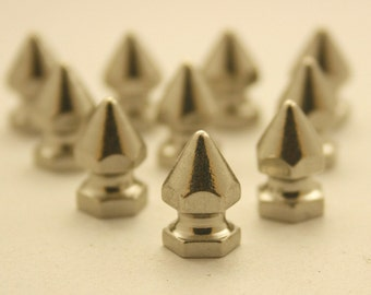 10 pcs.Silver Tone Cone Spikes Screwback Studs Leathercraft Decorations Findings. KN814