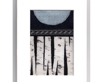 Blue Moon White Birch Winter Forest Mini Crazy Quilt Patchwork Collage