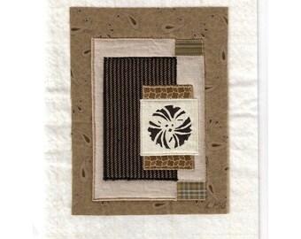 Mini Art Quilt Asian Gingko Crest Zen Dry Garden Sand Stone Ready to Frame