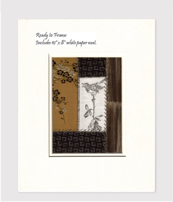 Warbler Song Bird Plum Blossom Tree Brocade Asian Scroll Crazy Quilt Style Ready to Frame