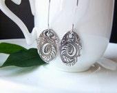 Silver Dangly Earrings Long Oval Dangly Silver and Black Earrings