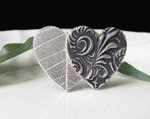 Silver Heart Brooch, Entwined Double Heart Brooch, Silver and Black Brooch