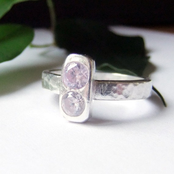 Pink Crystal Ring, Silver Crystal Band Ring, Ice Pink - Reduced
