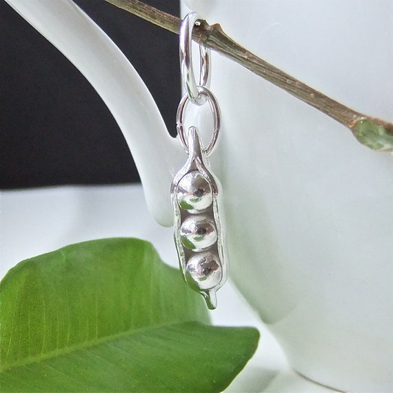 Pea pod Charm, Silver Charm Three Peas in a Pod Charm Hand crafted 8mm link