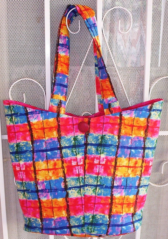 Tote Bag Handbag Purse Diaperbag  Book Bag Quilted Fabric Bag Blue