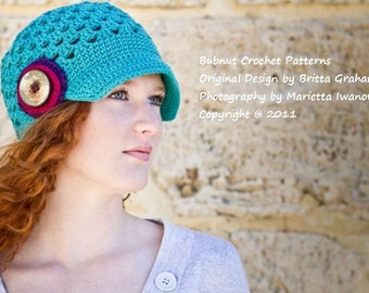 Womens Newsboy Hat Pattern for teens and adults with button stack No.304 Digital Download Crochet Pattern