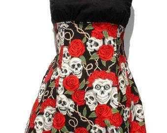 Rockabilly Pin up Dress / Pinup / Skulls and Roses Tattoo Art Dress / Rockabilly Inspired Girl Dress