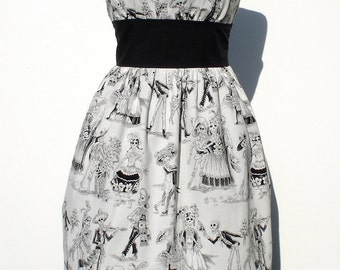 Day of the Dead / Mexican Dia de Los Muertos Inspired Retro Dress / Rockabilly Dress